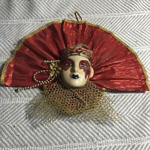 Red And Gold Fanned Collar Handpainted Decorative Mask