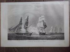 GRAVURE MARINE BATEAUX NAVIRES 1840 COMBAT DU BRICK FRANÇAIS LE RENARD