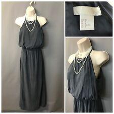 H&M Conscious Grey Strappy Jersey Cotton Halter Neck Maxi Dress UK 4 EU 32 US 2