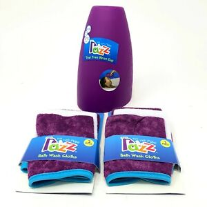 Two Sets of Razz Tub Time Fun Baby Bath Wash Cloths and One Rinse Cup - Purple