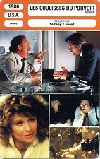Fiche Cinéma. Movie Card. Les coulisses du pouvoir/Power (USA) 1986 Sidney Lumet