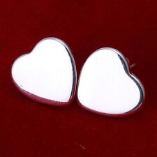 Awesome New 925 Sterling Silver Plated Smooth & Shiny Heart Stud Earrings