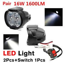 Pair Motorcycle Spot Fog Light Headlight 4 LED Front Head Lamp 12V 16W 1600LM