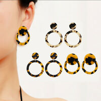Women Lady Circle Acrylic Statement Earrings Tortoise Shell Plastic Acetate Hoop