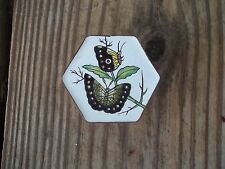 Vintage Brass Enamel Hexagon Shaped Butterfly Trinket Box Floral Design Chinese