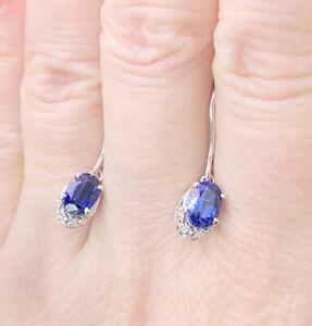 9k/9ct White Gold Sundar Kyanite & Diamond Gemstone Earrings, Gems Tv, With Cert