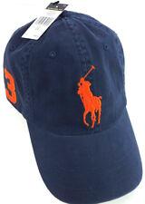 Polo Ralph Lauren Big Pony Sport Chino Hat Cap Newport Navy /Orange New $49.50