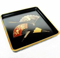 Japan Wajima-nuri Meiji era lacquerware Folding fan Makie Tea tray Sencha bon