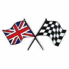 Union Jack GB / Checkered Crossed Flag Badge Emblem Self Adhesive Britain
