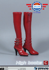 """ZY toys 1/6 scale RED High Heel Boots w/ zipper for 12"""" Female figure HOLLOW"""