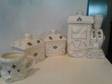 International Bazaar Christmas Holly Bear Gold Trim Train Display Cookie Jars