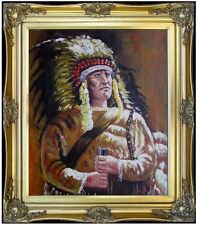Framed A Handsome Native American Portrait, Hand Painted Oil Painting 20x24in