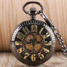 Vintage Pocket Watch Chain Fob Black Retro Antique Pocket Watch Pendant Necklace