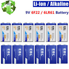 Lot EBL 9V 6F22 Li-ion Battery / Alkaline 9 Volt 6LR61 Batteries High Capacity