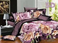 3D Purple Rose Flower Bedding Bed Sets Sheet Duvet Cover No Comforter 4pcs Queen
