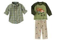 NWT Gymboree Dinosaur Tracker 3pc Top, Plaid Shirt, & Corduroy Embroidered Pants