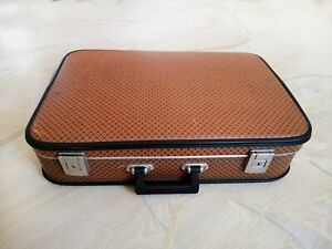 Vintage Suitcase Old Brown Faux Leather Luggage Trunk Valise Bag