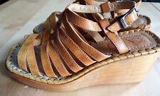 Sandales en cuir Vintage Hippie Bohème à lanière talon en bois P.35