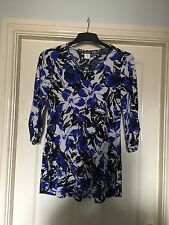 Kim & Co Mysterious Garden 3/4 Sleeve Printed V Neck Tunic Small Cobalt Blue New