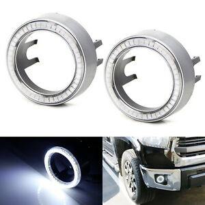 White 40-SMD LED Angel Eyes Halo Rings w/ Shroud For Fog Lights Retrofit DIY