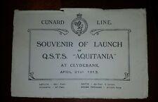 Rare! 1913 Cunard Line Qsts (Rms) Aquitania Souvenir Of Launch 1 Year B4 Service