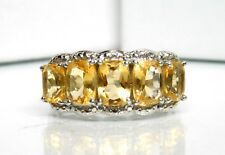 5 Stone Ring Sz 7.25 Retro Sterling Silver Oval Cut Citrine