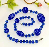 Antique Vintage Hand Knotted Blue Glass Bead Necklace