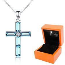 925 Silber Kreuz Cross Kristall blau Anhänger mit Kette Halskette + LED Holzbox