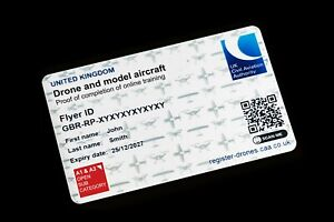 CAA Drone & Model Aircraft (DMARES) ID Card - Printed and posted same day.