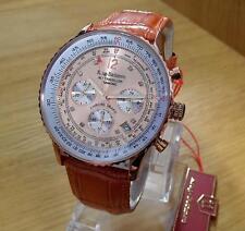 Mens Krug-Baumen Air Traveller Pilots Rose-Gold Copper Chrono Watch 400704 BNiB