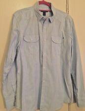 INC Men's Button Down Shirt Western Pearl Snap Long Sleeve - Lt. Blue - LARGE