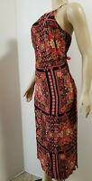 TOP SHOP RED MULTI-COLORED FLORAL SLEEVELESS MAXI DRESS WOMENS SIZE US 6