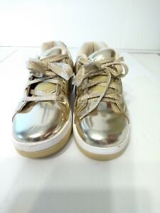 Heelys Girls Gold Roller Skate Shoes Size 4 Youth Metallic Sneakers Low Top