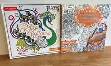 2X Adult Anti Stress Colouring Books Art Design Colour Therapy Animals Mandalas