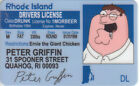 PETER GRIFFIN from the family guy id card - plastic ID card Drivers License -