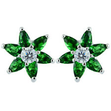 Melina Cz 18K White Gold Plated Marquise Cut Stud Green Emerald Earrings