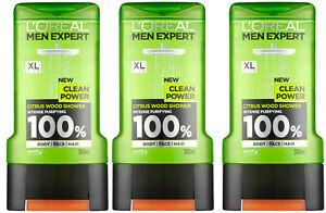 3 x L'oreal Men Expert Clean Power Citrus Wood Shower Gel Body Face Hair 300ml