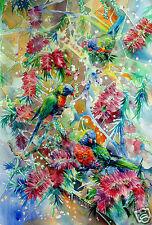 Art print,original painting,Rainbow Lorikeet,birds,native tree,Australian art