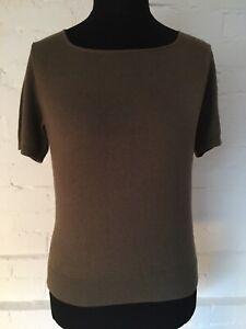Tu Short Sleeve Jumper Size 14 Olive Round Neck Soft
