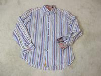 Robert Graham Flip Cuff Button Up Shirt Adult Extra Large Blue Orange Casual Men