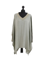 Womens Italian V-Neck Ribbed Cuff Sleeves Oversized Cotton Tunic Top Plus Size
