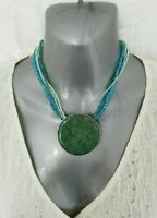 Turquoise Silver Tone Metal Pendant Statement Necklace Seed Bead Multi Strand