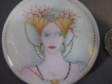 Nouveau Style Antique Flapper Shells Coral Porcelain Enamel Disk Finding Craft