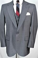 Sharp VTG GRAY PINSTRIPE 3 pc Suit 42 R Gatsby Gangster MOD INDIE 36 x 28