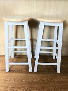2 x Hand Painted Wooden Bar Stools - White