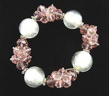 """PINK CRYSTAL BEADS & CLEAR FOIL Bracelet Vintage Elastic Stretchy 6 1/2"""" Unstret"""