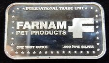 RARE Farnam Pet Products 1 oz .999 SILVER ART BAR ~ proof like mirrored surface