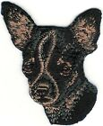 """1 7/8"""" x 2 7/8"""" Black Brown Chihuahua Dog Breed Portrait Embroidery Patch"""