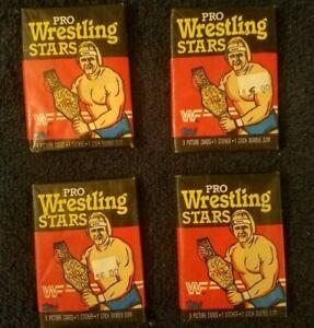 1985 Topps WWF Pro Wrestling Stars Unopened Wax Pack *Set of 4*RARE! READ DESC!