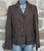 Size 10 Jacket PRINCIPLES Brown LINEN Fitted Great Condition Women's Ladies